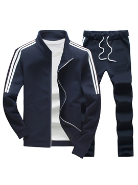 Ericdress Stand Collar Stripe Long Pant Men's Tracksuit