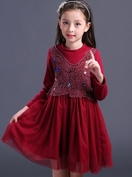 Ericdress Diamond Lace Mesh Patchwork Girl's Dress