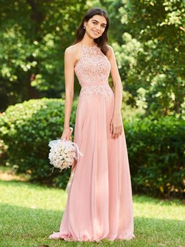 Ericdress Halter Backless A Line Long Bridesmaid Dress