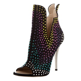 Ericdress Fashion Rhinestone Open Toe High Heel Boots