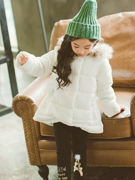 Ericdress Plain Faux Fur Zipper Girl's Down Jacket
