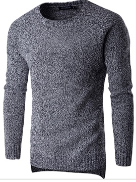 Ericdress Round Neck Solid Color Men's Pullover Sweater