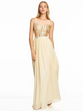 Ericdress Scoop Neck Sequins A Line Prom Dress