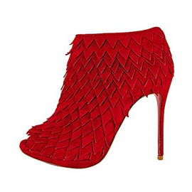 Ericdress Red Peep Toe Slip-On High Heel Boots