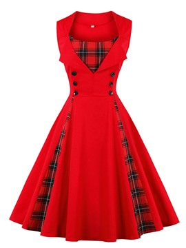 Ericdress Button Sleeveless Mid-Calf Plaid A-Line Dress