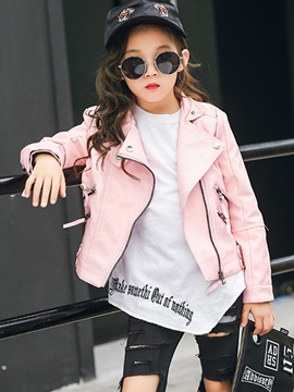 Ericdress Fashion Lapel Zipper Girl's PU Coat