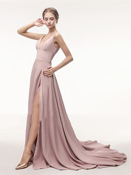 Ericdress Straps Side Slit Long A Line Evening Dress