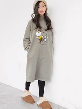 Ericdress Cartoon Print Turtleneck Mid-Calf Girl's Dress