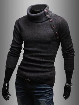 Ericdress Plain High Neck Men's Pullover Sweater