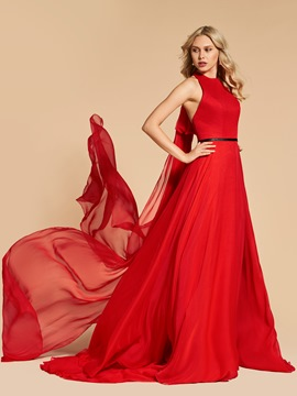 Ericdress A Line Halter Long Evening Dress With Court Train