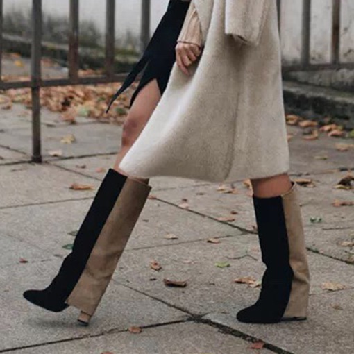 Ericdress Color Block Slip-On Chunky Heel Knee High Boots