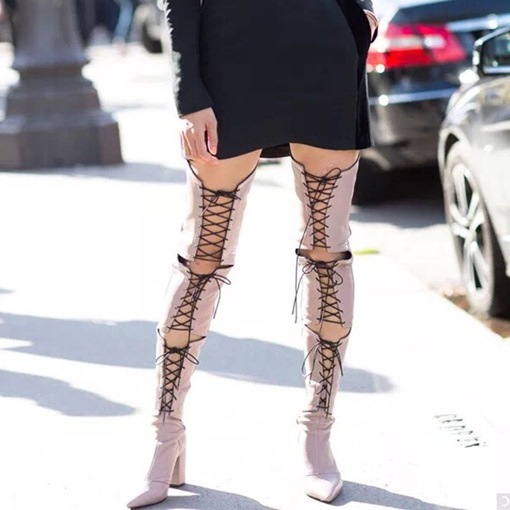 Ericdress Sexy Hollow Lace-Up Thigh High Boots