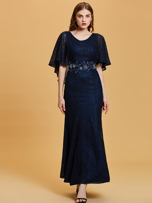 Ericdress Scoop Neck Half Sleeves Lace Mermaid Evening Dress
