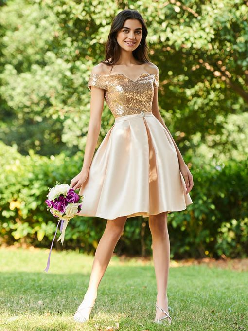 Ericdress Off the Shoulder Knee Length Sequins Bridesmaid Dress