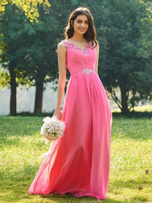 Ericdress V Neck A Line Beaded Long Bridesmaid Dress