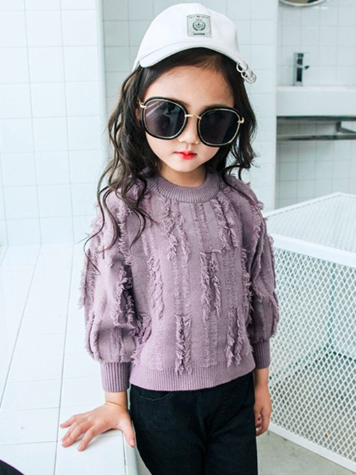 Ericdress Plain Tassel Lantern Sleeve Girl's Knitting Sweater