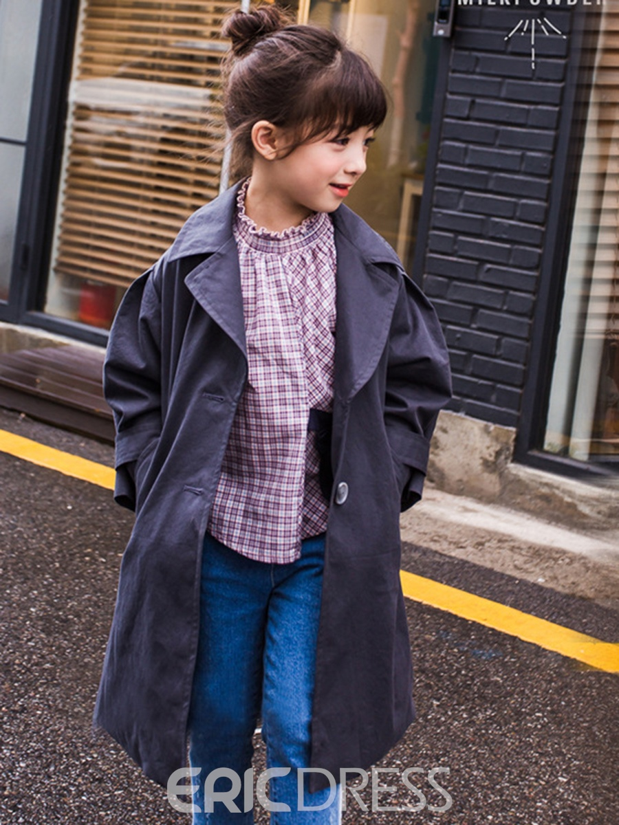 6eddee990ae Ericdress Lapel Single-breasted Lace-up Girls Trench Coat