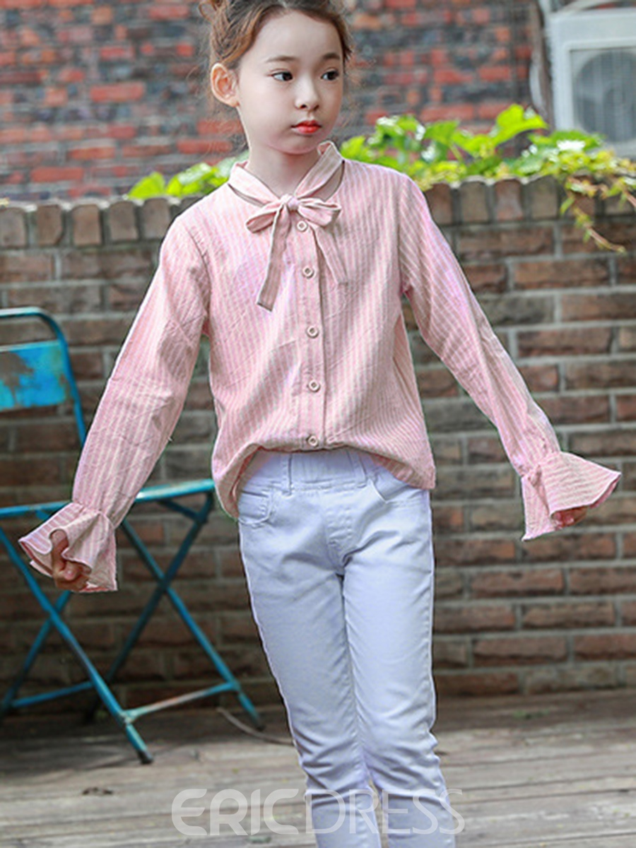 Ericdress Stripe Flare Sleeve Bowknot Girl's Shirt