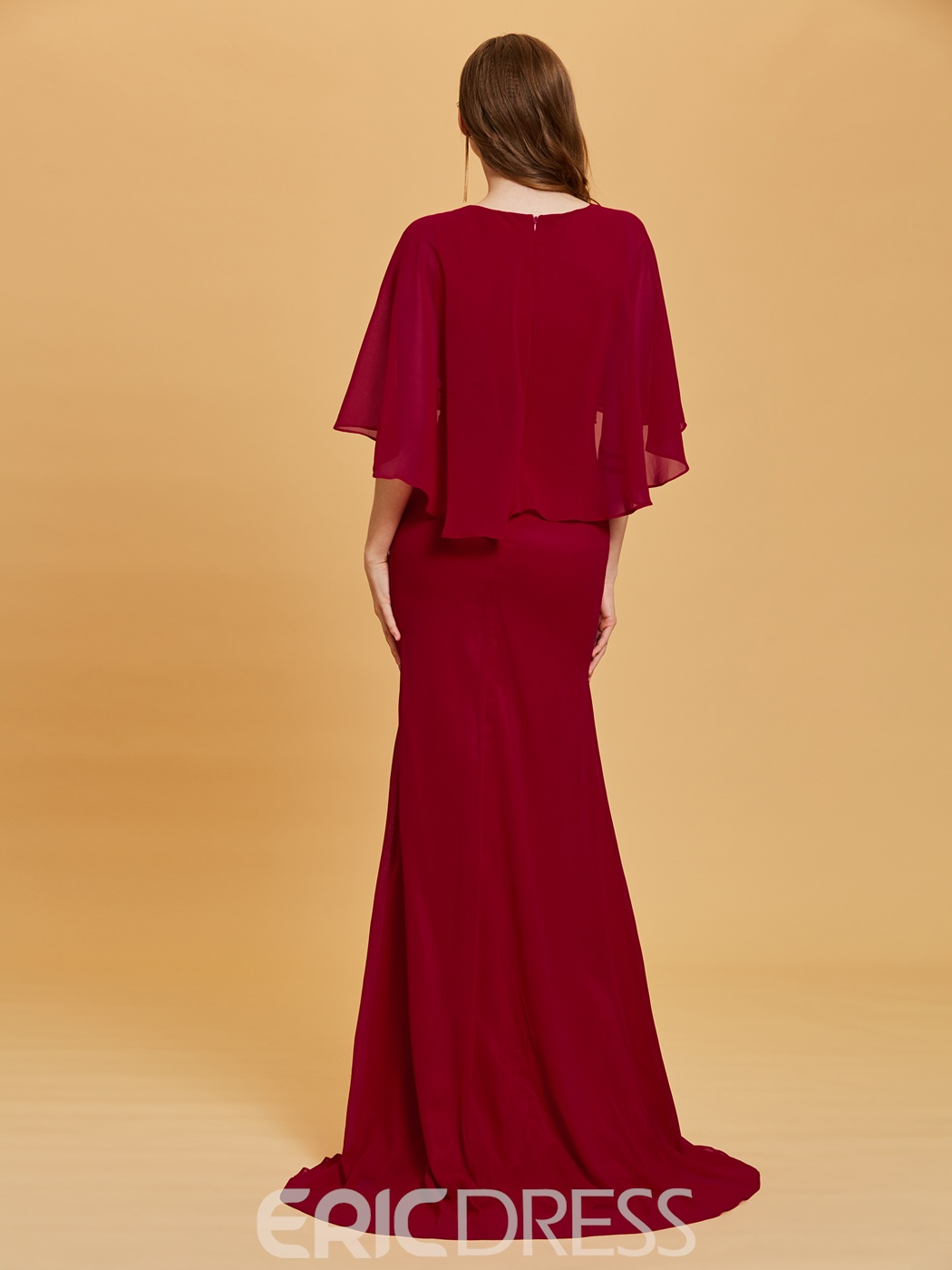 Ericdress Sheath Mermaid Bateau Neck Half Sleeves Evening Dress