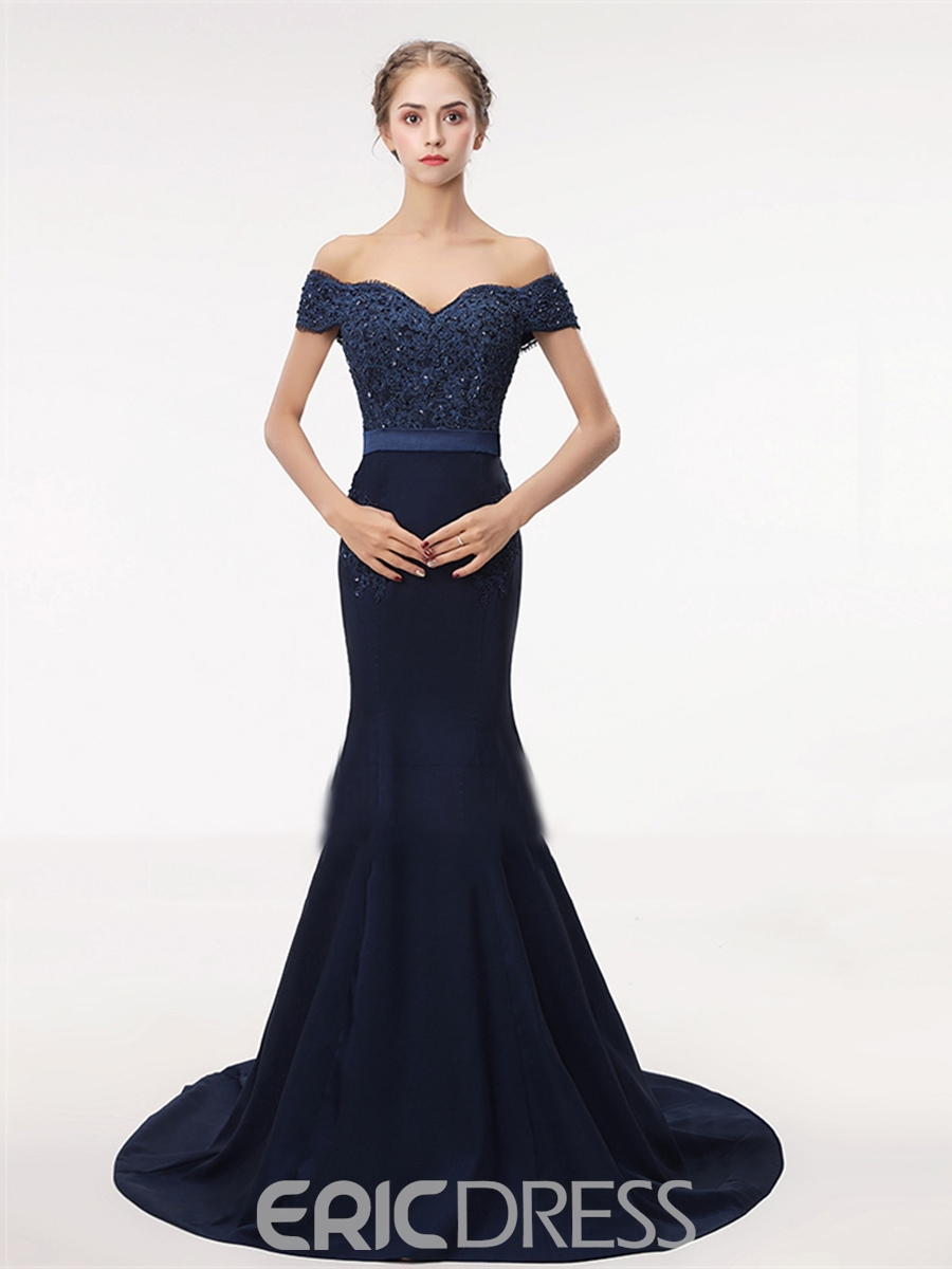 Ericdress Off The Shoulder Mermaid Evening Dress With Short Sleeve