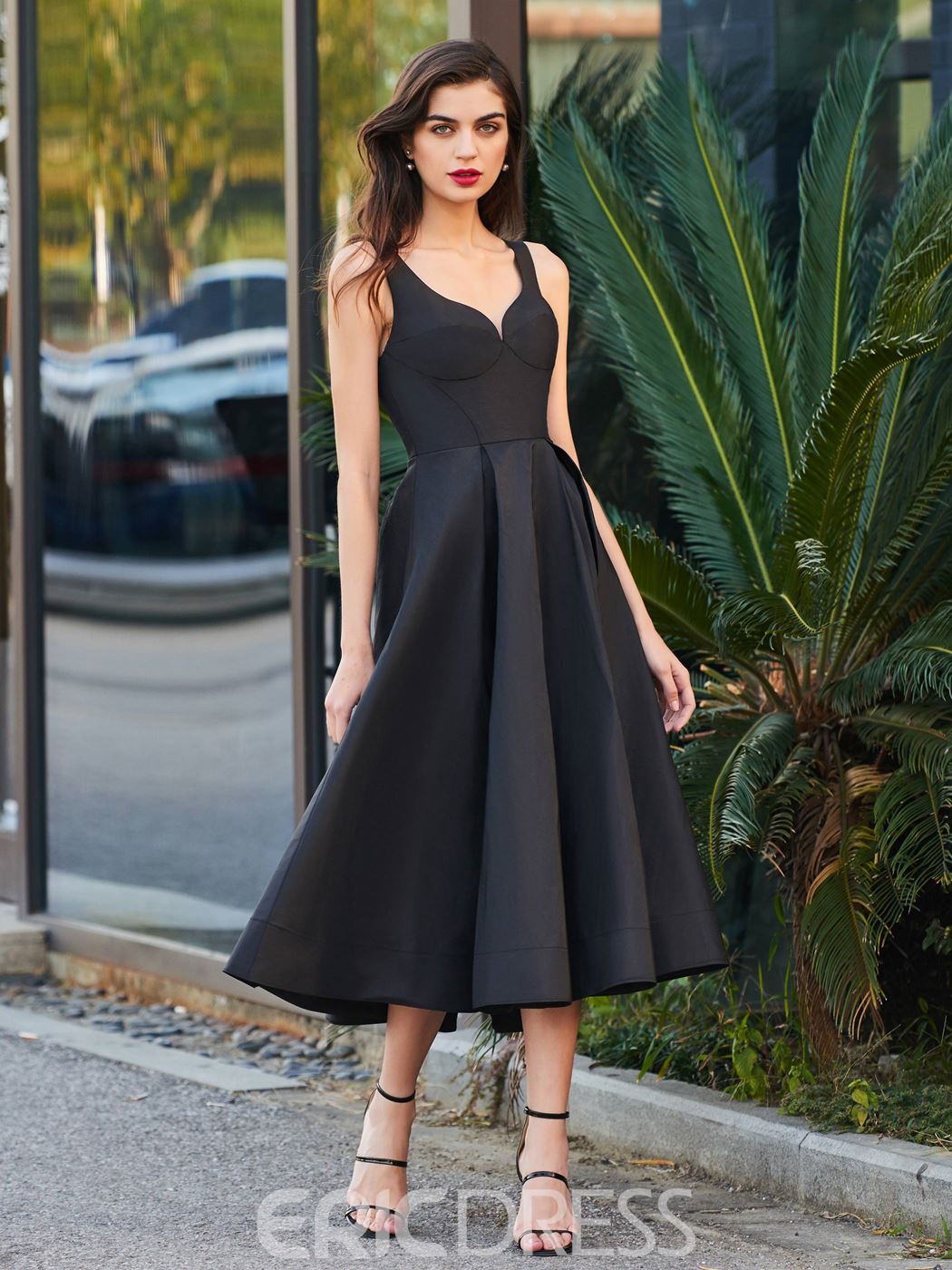 58c4fee5aa4 Ericdress A Line Tea Length Straps Backless Black Cocktail Party Dress