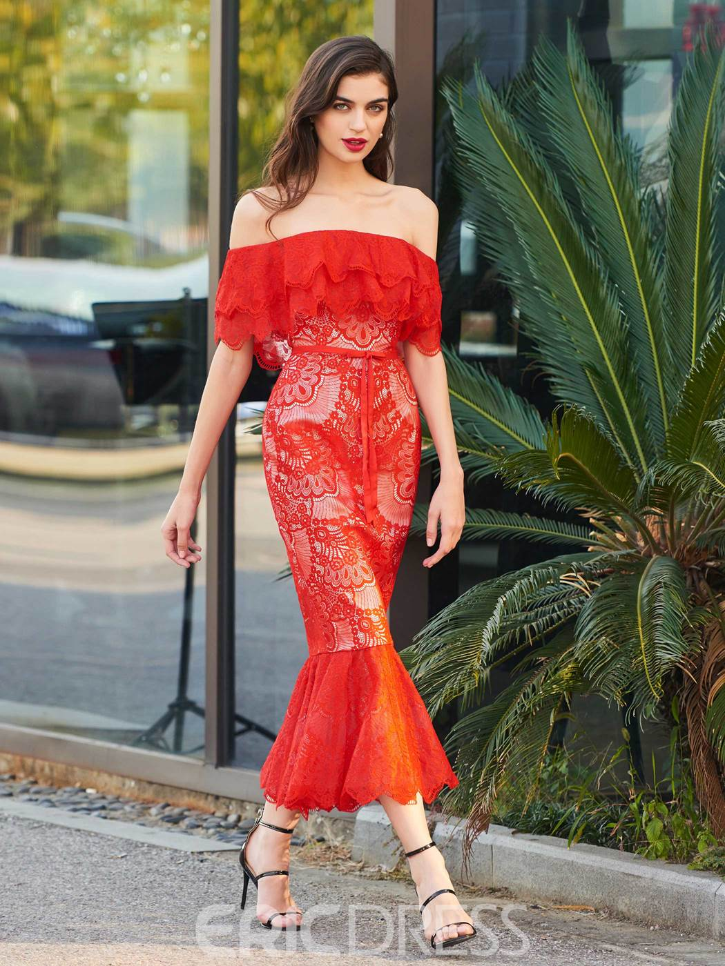 Ericdress Off The Shoulder Mermaid Lace Red Cocktail Dress