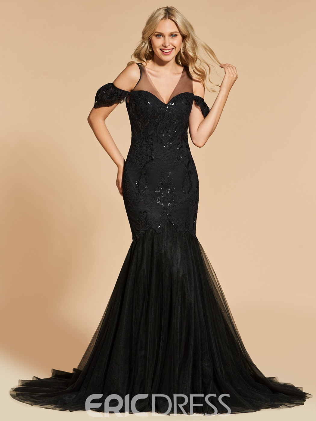 Ericdress V Neck Short Sleeve Sequin Lace Mermaid Evening Dress