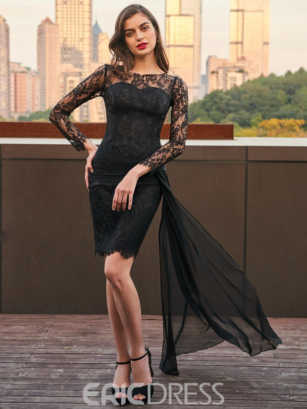 eaf2f2c43 Ericdress Sheath Long Sleeve Lace Black Cocktail Party Dress(13121946)