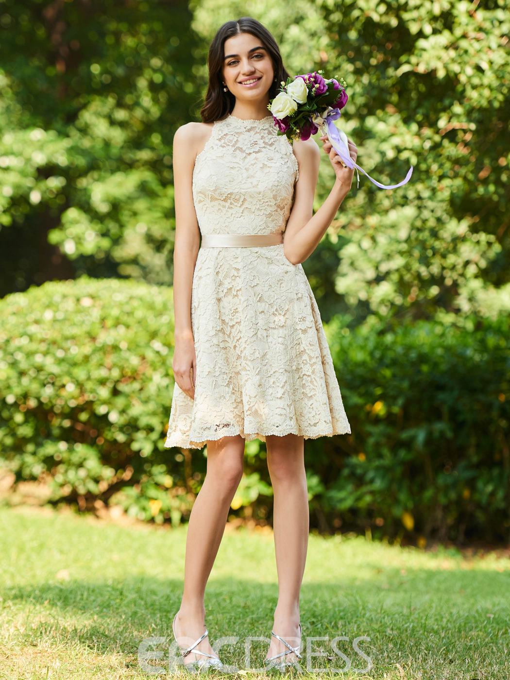Ericdress A Line Knee Length Lace Bridesmaid Dress