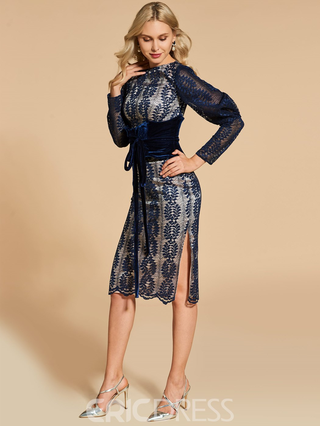 Ericdress Sheath Long Sleeve Lace Cocktail Dress In Knee Length
