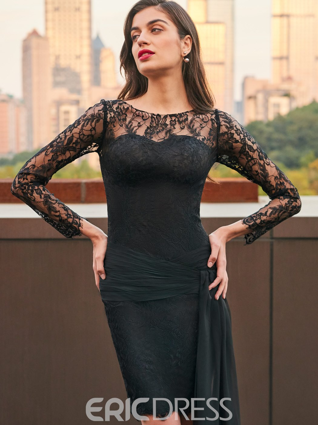 Ericdress Sheath Long Sleeve Lace Black Cocktail Party Dress