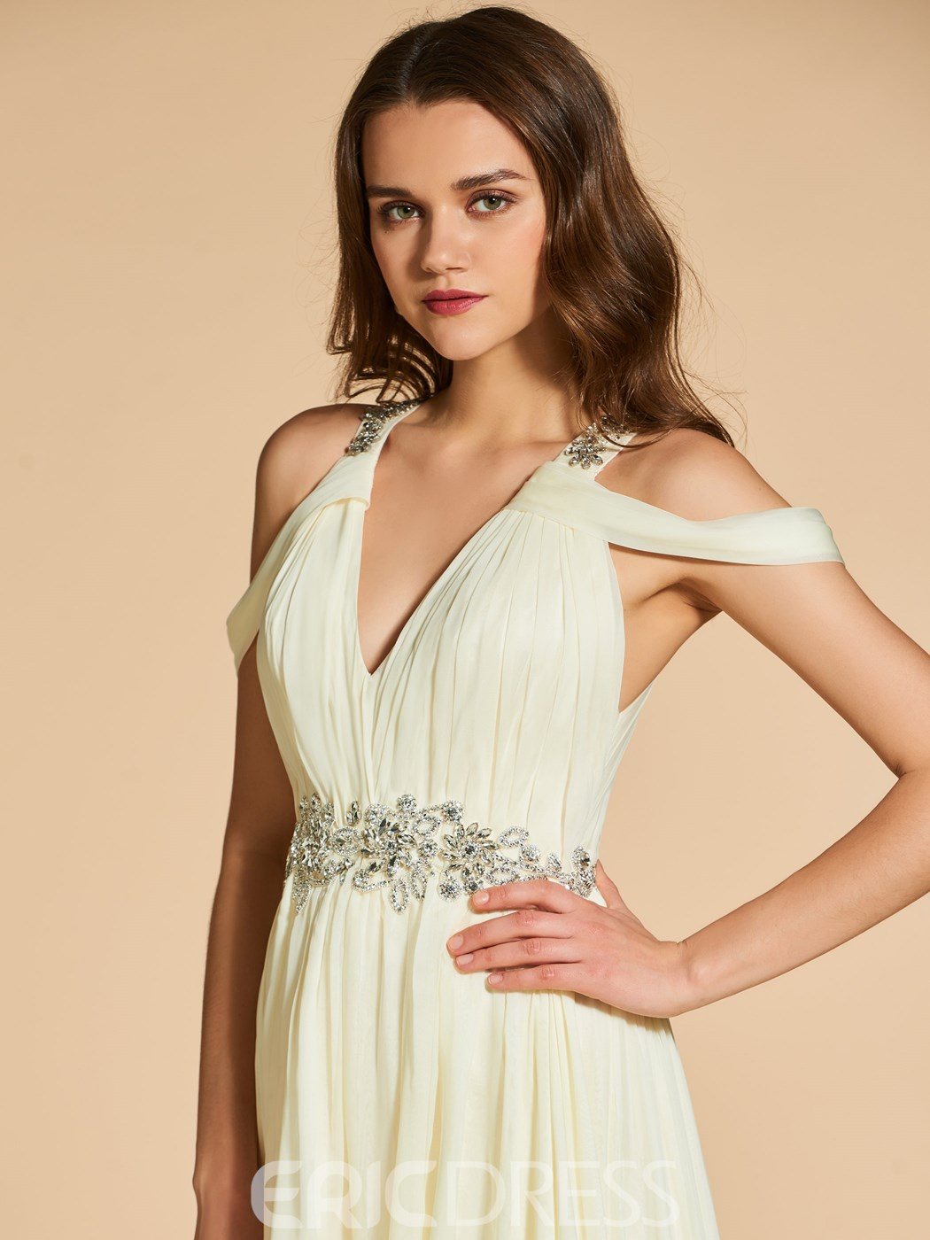 Ericdress A Line Beaded Open Shoulder Prom Dress