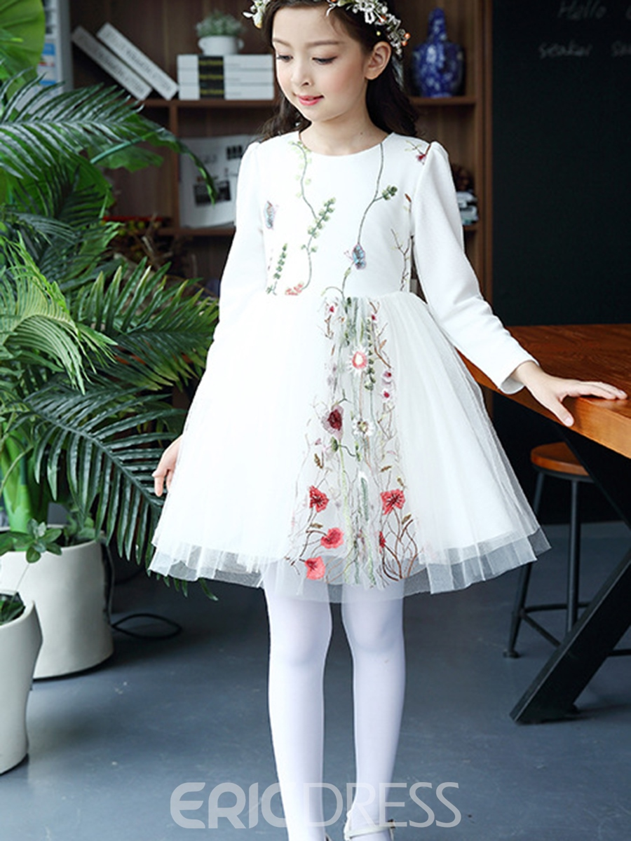 Ericdress Floral Embroidery Mesh Patchwork Girl's Dress