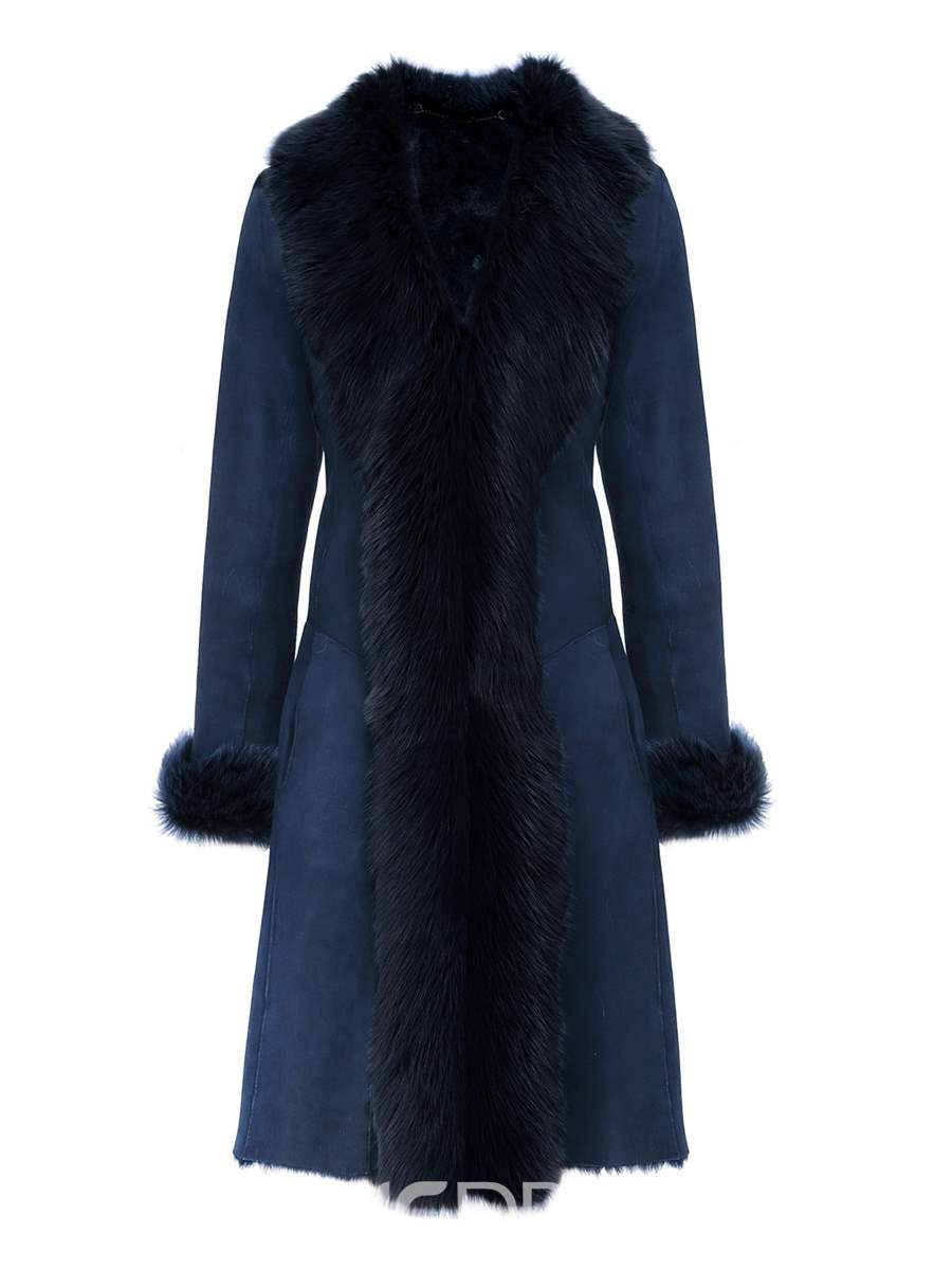 Ericdress V-Neck Faux Fur Patchwork Luxury Coat