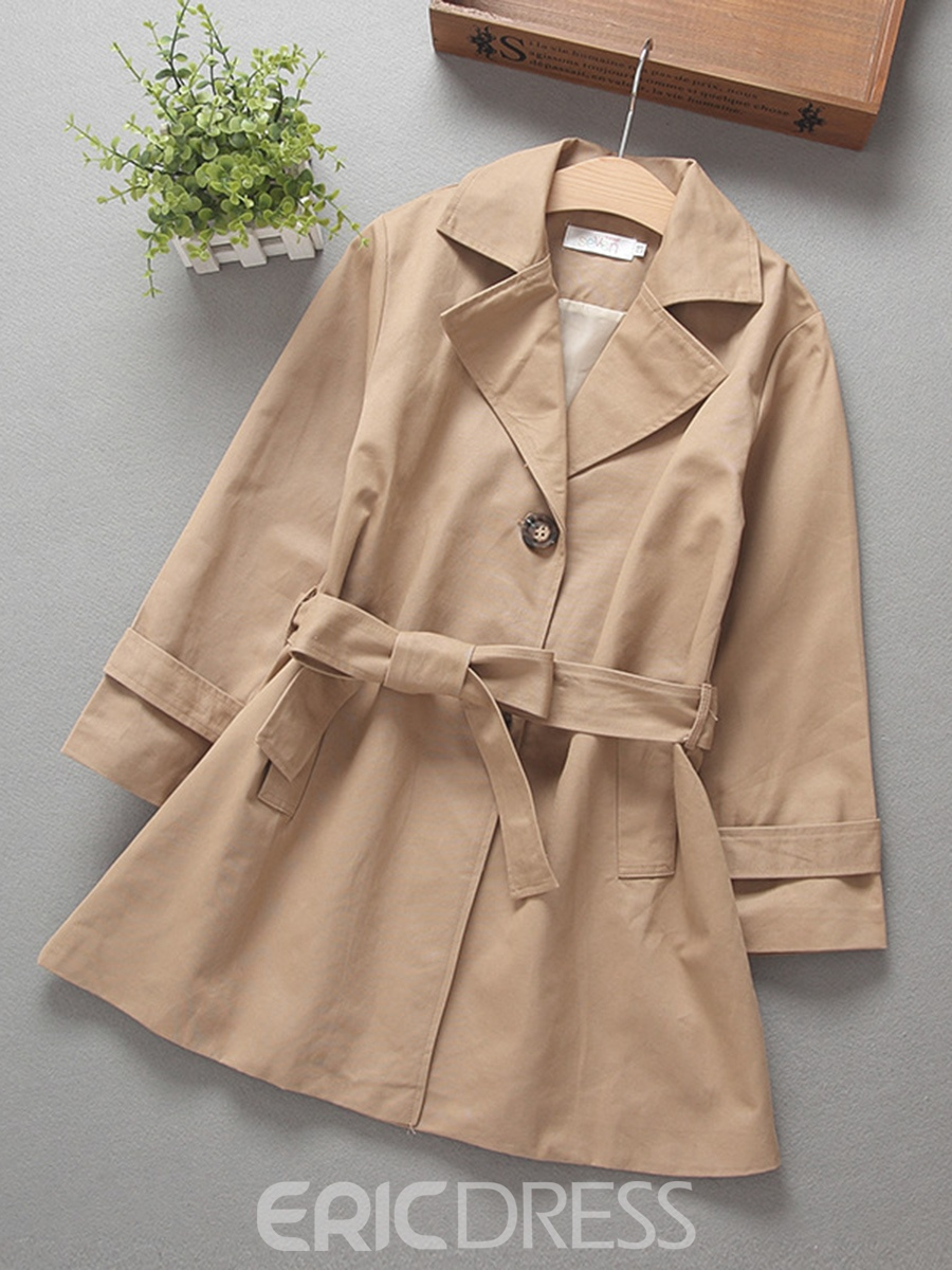 Ericdress Lapel Single-breasted Lace-up Girls' Trench Coat