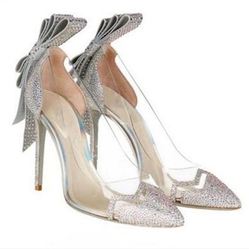 Ericdress Rhinestone Slip-On Stiletto Heel Pumps with Bowknot