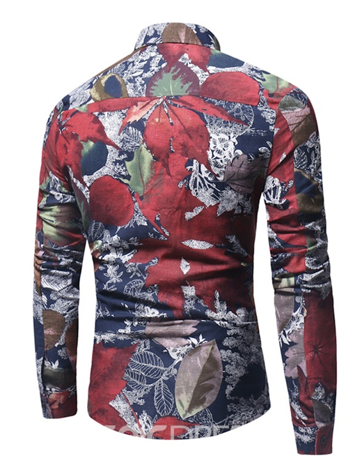 Ericdress Lapel Leaf Print Men's Shirt
