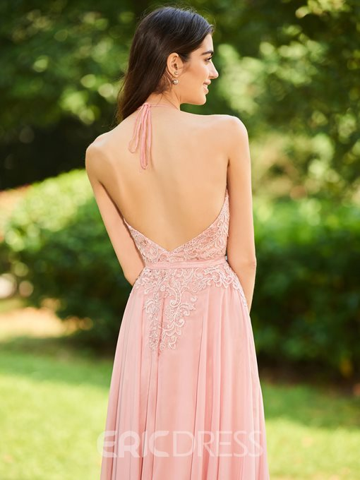 Ericdress Halter Appliques Backless Bridesmaid Dress