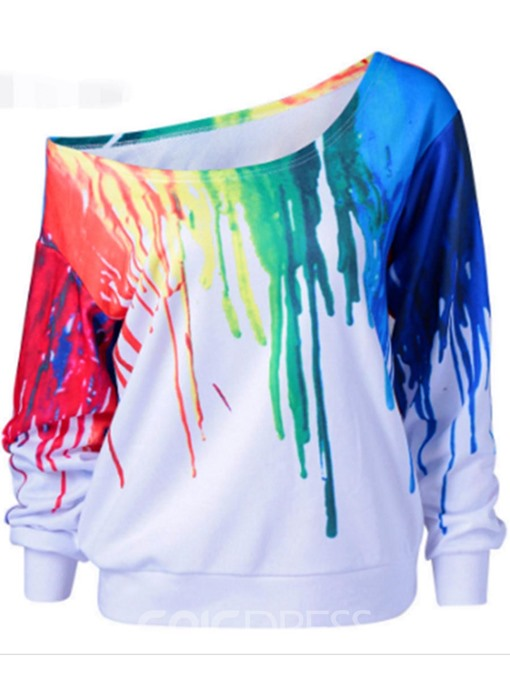 Ericdress Loose Colorful 3D Print Oblique Collar Sweatshirt