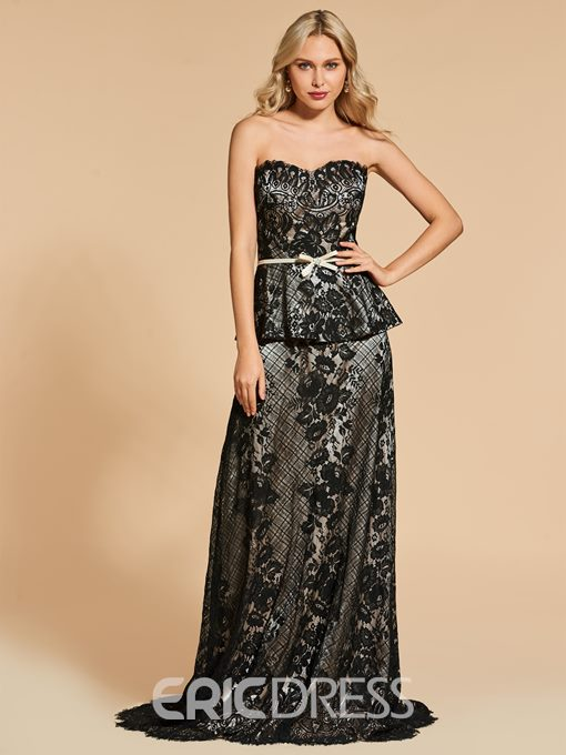 Ericdress A Line Sweetheart Lace Evening Dress With Sweep Train