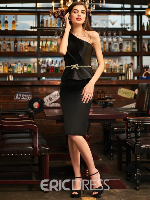 Ericdress Sheath One Shoulder Black Cocktail Dress With Beadings