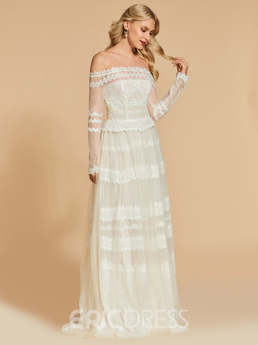 Ericdress A Line Long Sleeeve Off The Shoulder Lace Evening Dress