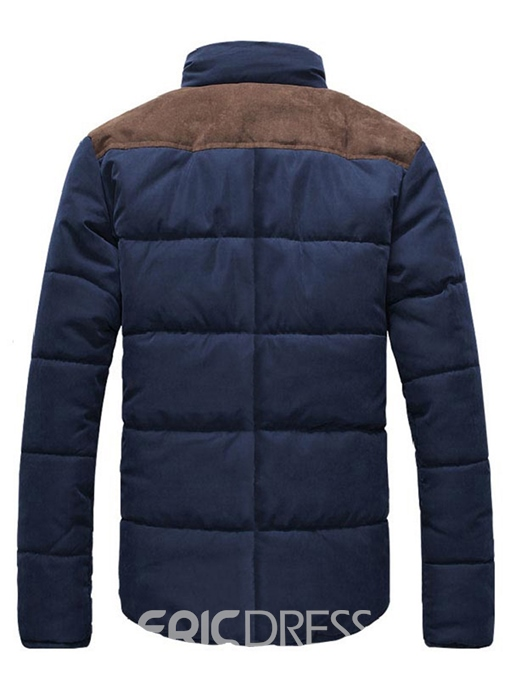 Ericdress Stand Collar Zip Color Block Men's Winter Coat