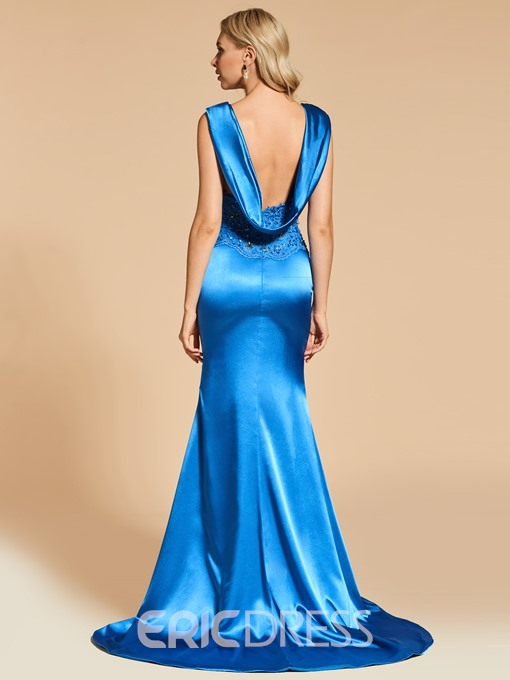 Ericdress Straps Beaded Backless Mermaid Evening Dress