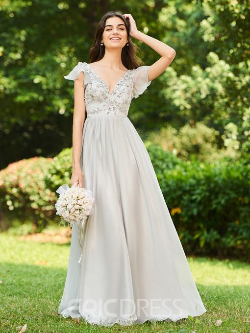 Ericdress Cap Sleeve 3D Floral Beading Bridesmaid Dress