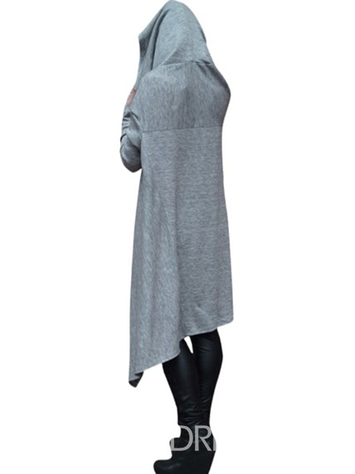 Ericdress Hooded Asymmetric Long Sleeve Plain Asymmetrical Dress