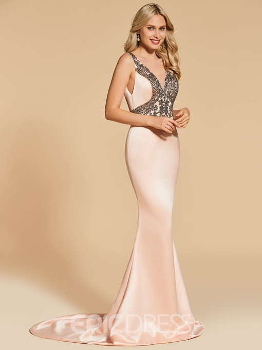 Ericdress Straps Beaded Backless Mermaid Evening Dress With Sweep Train