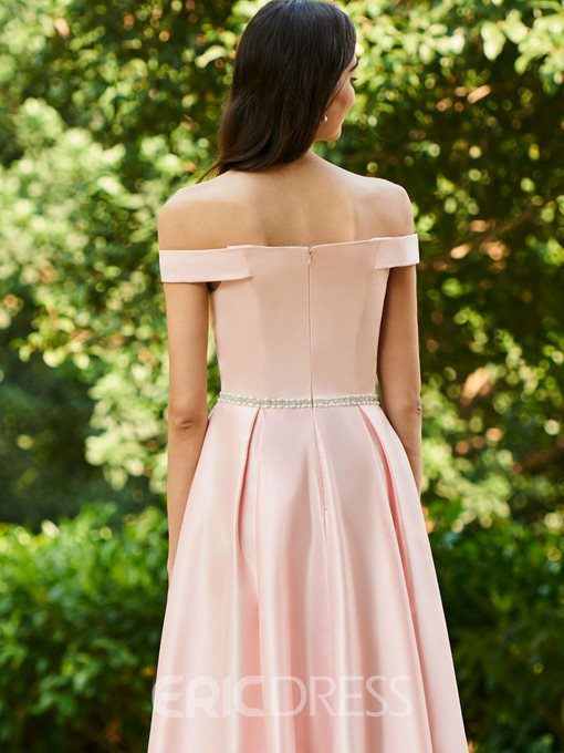 Ericdress Off the Shoulder Beading Tea Length Bridesmaid Dress
