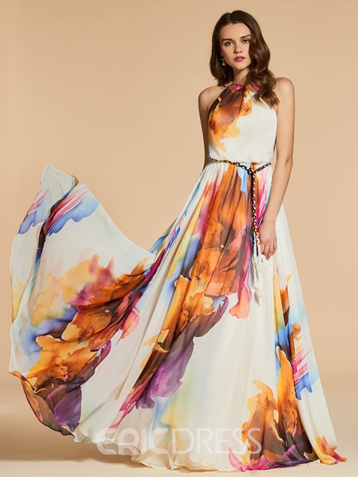 Ericdress A Line Halter Print Chiffon Evening Dress