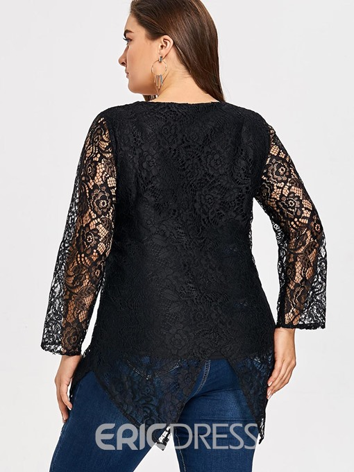 Ericdress Swallowtail Lace Plus Size Floral T-Shirt